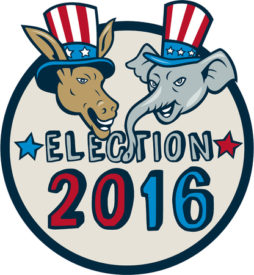 47009524 - illustration of democrat donkey head mascot and republican elephant head mascot  wearing hat with stars and stripes design set inside circle with the words election 2016.