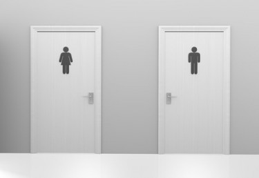 39322023 - restroom doors to public toilets marked with icons for men and women