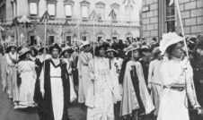 Image of women marching for the right to vote